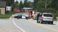 Police Road Block At An Emergency With Fire Trucks Ontario Canada Stock Footage