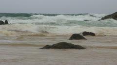 Big waves on Nai Thon beach Phuket Thailand Stock Footage