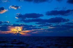 GOLDEN BLUE SUNSET Stock Photos