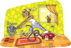 Room cleaning - stock illustration