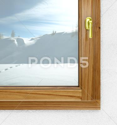 Stock Illustration of new window from inside in winter