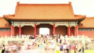 Stock Video Footage of Crowd at Palace Forbidden City in Beijing, China