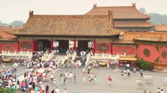 Tourist Crowds at Palace Forbidden City in Beijing, China Stock Footage