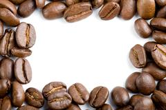 frame of coffee beans isolated - stock photo