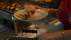 Guest Loading Plate at Buffet Pulled Pork Stock Footage