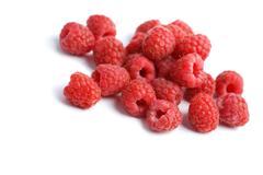 fresh raspberries background isolated - stock photo