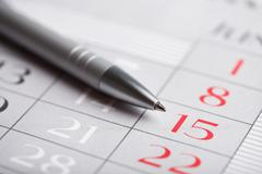 close-up of calendar page - stock photo