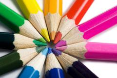 colored pencils in round shape - stock photo
