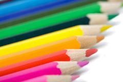 line of colorful pencils isolated - stock photo