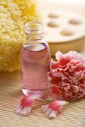 health and body care. bottle of oil, sponge and carnation flower - stock photo