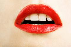 Beautiful red lips Stock Photos