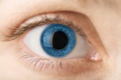 Macro of blue human eye Stock Photos