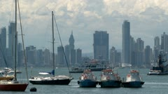 Panama City: Pleasure and working boats at anchor in Panama Bay Stock Footage