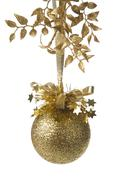 Golden christmas ball isolated. holiday background Stock Photos