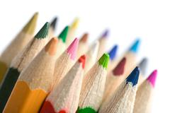 colorful pencils isolated - stock photo