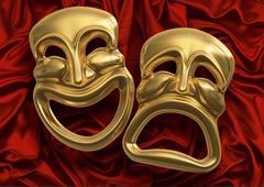 comedy tragedy masks - stock illustration