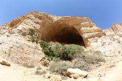 Cave for hermits in Ein Avdat in the Negev district in southern Israel - stock photo