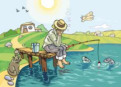 The Fishing - stock illustration