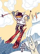 Brave Ski Freerider Stock Illustration