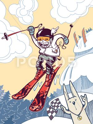Stock Illustration of Brave Ski Freerider