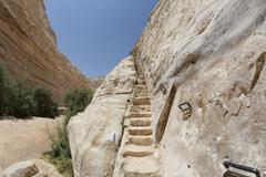 Stairs in Ein Avdat in the Negev district in southern Israel - stock photo