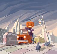 Jack O'Lantern and His Orange Car. - stock illustration