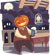 Jack O' Lantern with a Pint of Beer - stock illustration