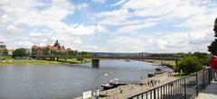 river view in historical part of dresden, germany - stock photo