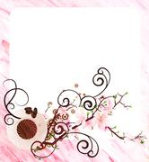 Coffee cup and pink flowers watercolor pink illustration Stock Illustration