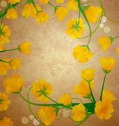 Yellow tulips frame on grunge paper retro illustration Stock Illustration