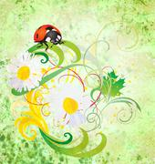 Grunge illustration with ladybird and daisy flowers green vintage illustratio Stock Illustration