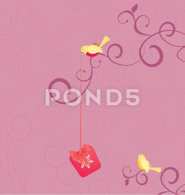 Stock Illustration of vector cartoon birds with christmas gift on pink flourishes background illust