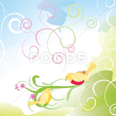 Stock Illustration of yellow birds in the garden abstract cartoon curves vector illustration