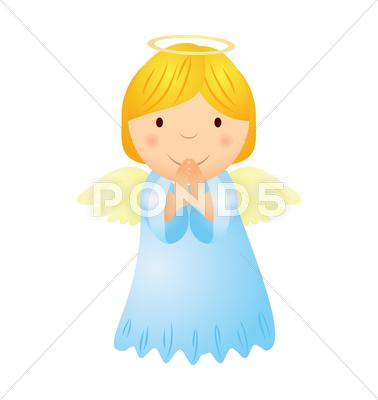 Stock Illustration of vector cartoon angel girl with golden hair isolated on white