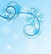 christmas vintage snowflake card - stock illustration