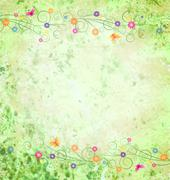 Green textured background with flowers border Stock Illustration