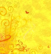 Yellow textured abstract ornamented background Stock Illustration