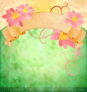 Grunge vintage green background with pink flowers and scroll Stock Illustration