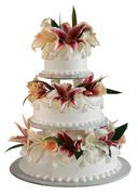 3 layer wedding cake - stock photo