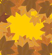 Vector frame with autumn leaves red orange yellow Stock Illustration