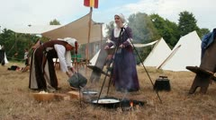 Medieval Footage Elements - Medieval cooking Woman Stock Footage