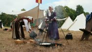 Stock Video Footage of Medieval Footage Elements - Medieval cooking Woman