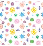 Vector colorful different snowflakes isolated on white seamless and bright Stock Illustration