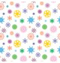 Stock Illustration of vector colorful different snowflakes isolated on white seamless and bright