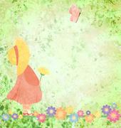 Girl in pink dress and yellow hat with flowers and butterfly on green grunge Stock Illustration