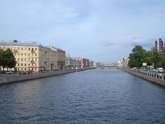 Panorama from bridge on the channe in l st. petersburg. russia Stock Photos
