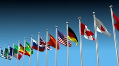 Fly around flags Stock Footage