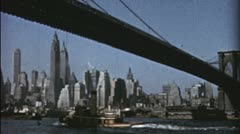 Pan BROOKLYN BRIDGE NYC Manhattan 1940s 1950s Vintage Retro Film Home Movie 3543 - stock footage