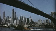 Stock Video Footage of Pan BROOKLYN BRIDGE 1940s 1950s (Vintage Retro Film Home Movie) 3543