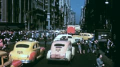 NYC CROWD STREET Scene People Intersection 1940s Vintage Film Home Movie 3544 - stock footage